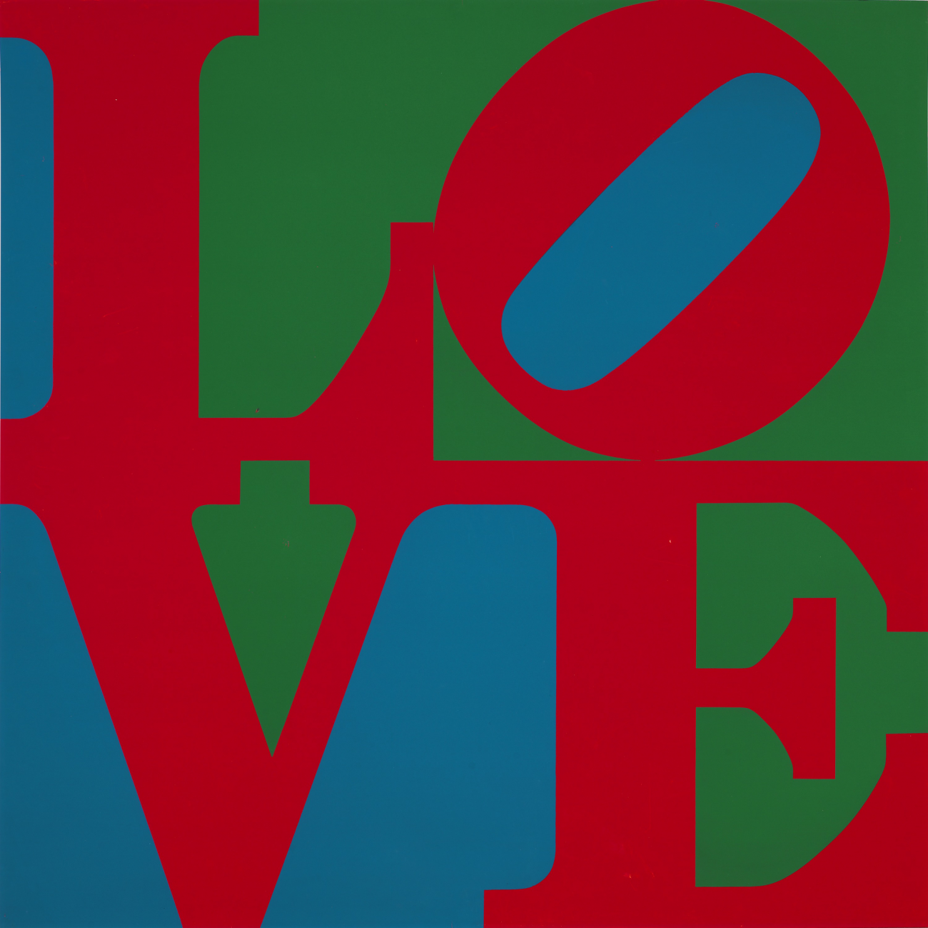"A painting of the word ""LOVE"" in red with green and blue background"