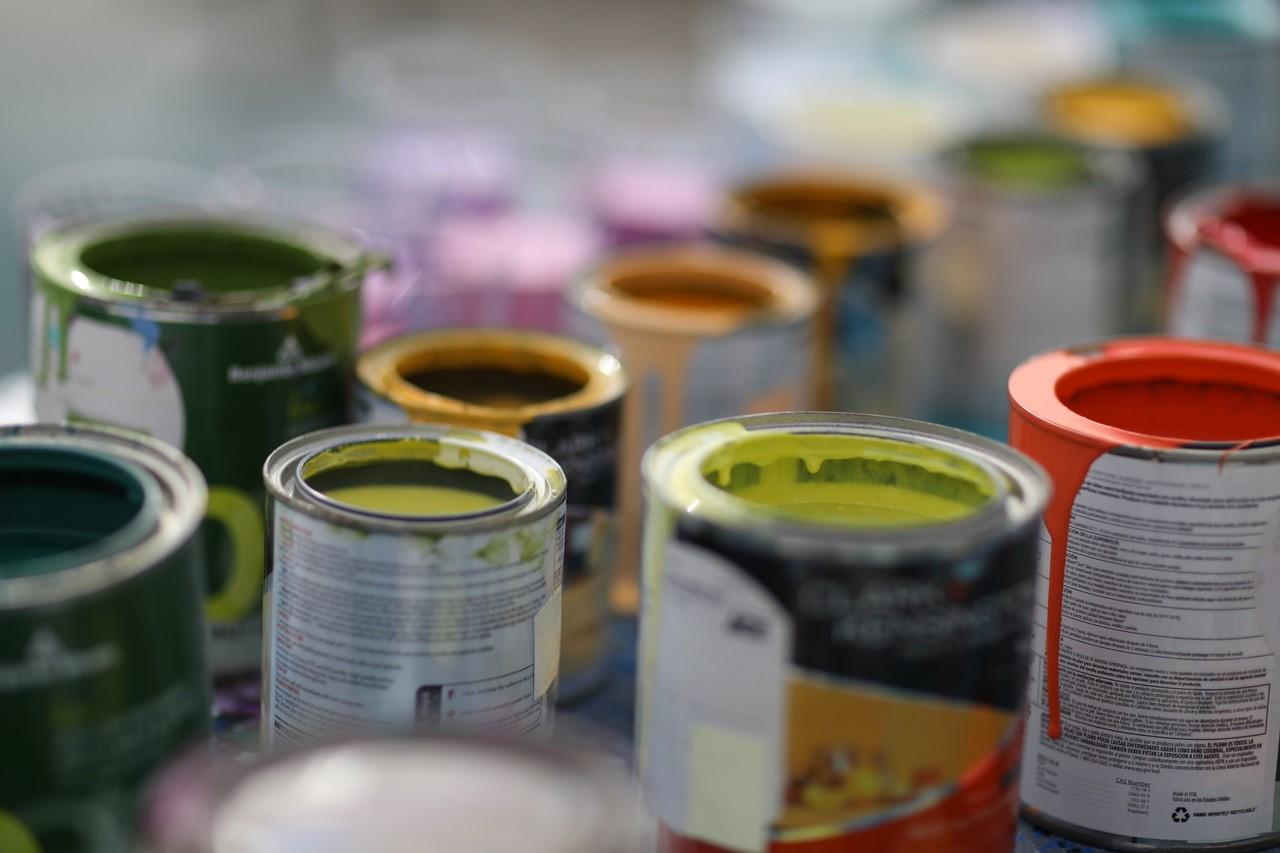 A detailed photograph of paint cans.