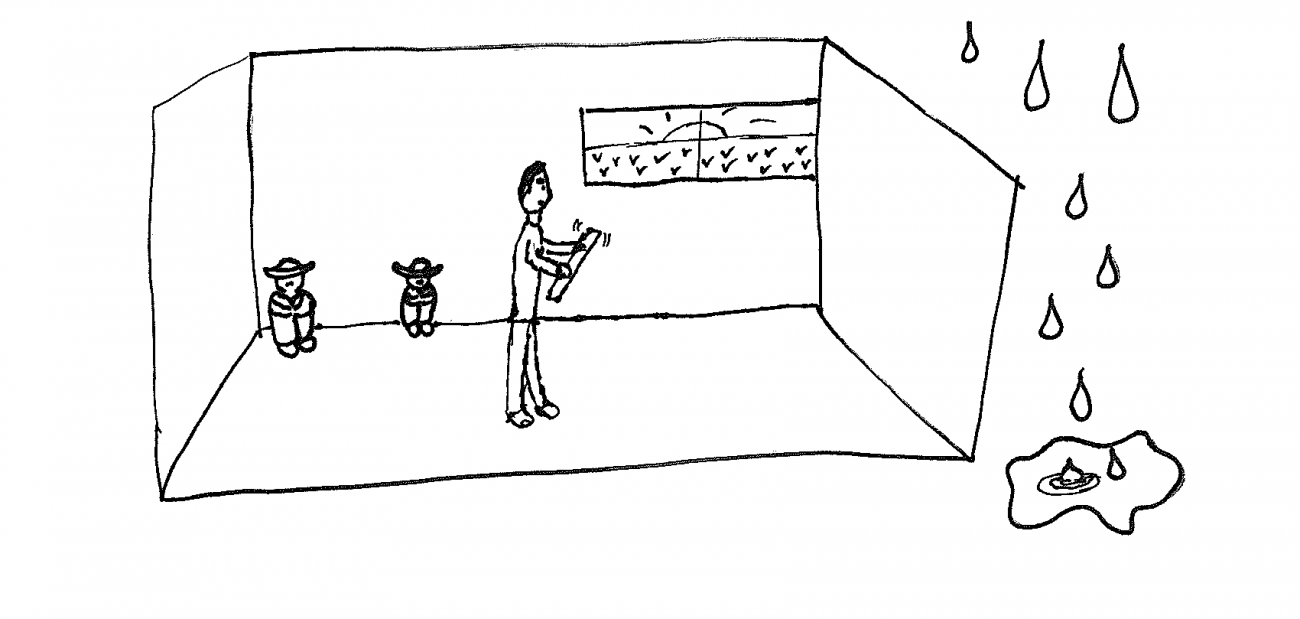 A drawing of a room with a figure inside and rain outside