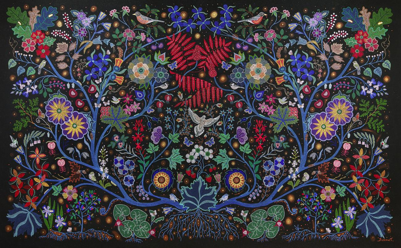 An artwork made of small beads depicting plants and flowers.