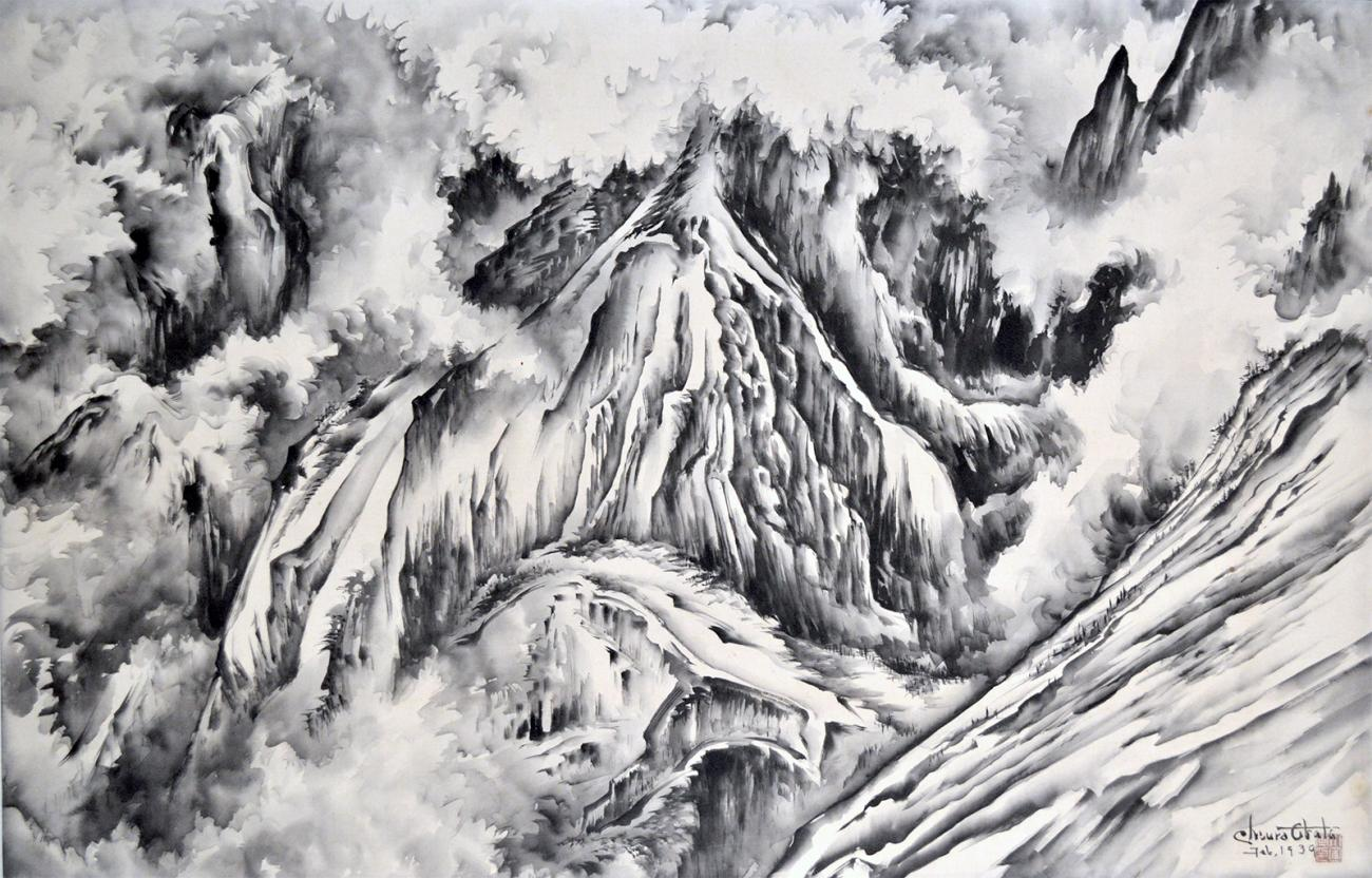 A watercolor image of a mountain peak with snow.