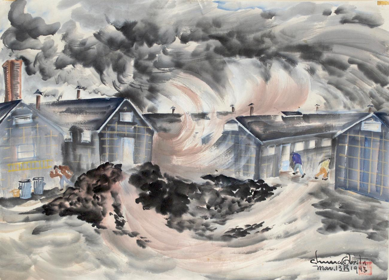 A watercolor image of dwellings with a dust storm above.
