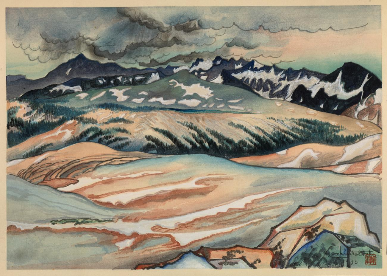 A watercolor image of landscape with snow.