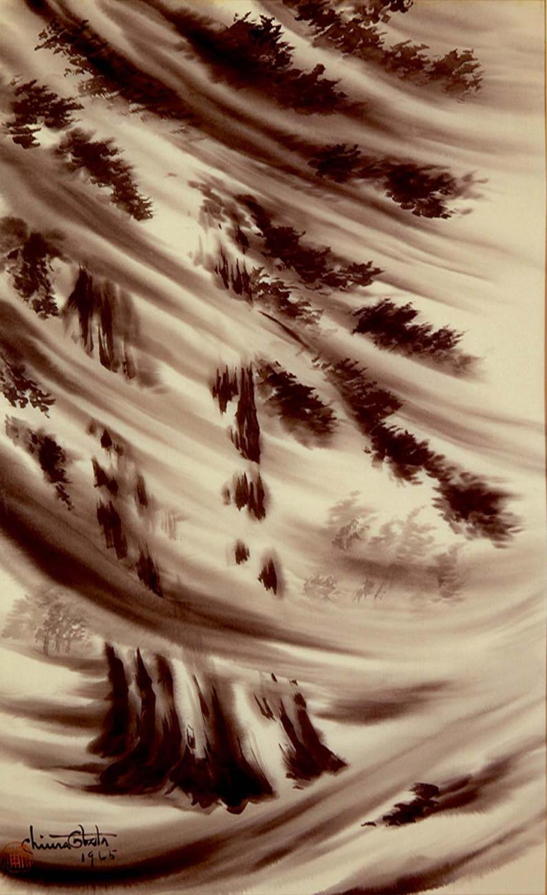 An abstract painting of a tree with wind.