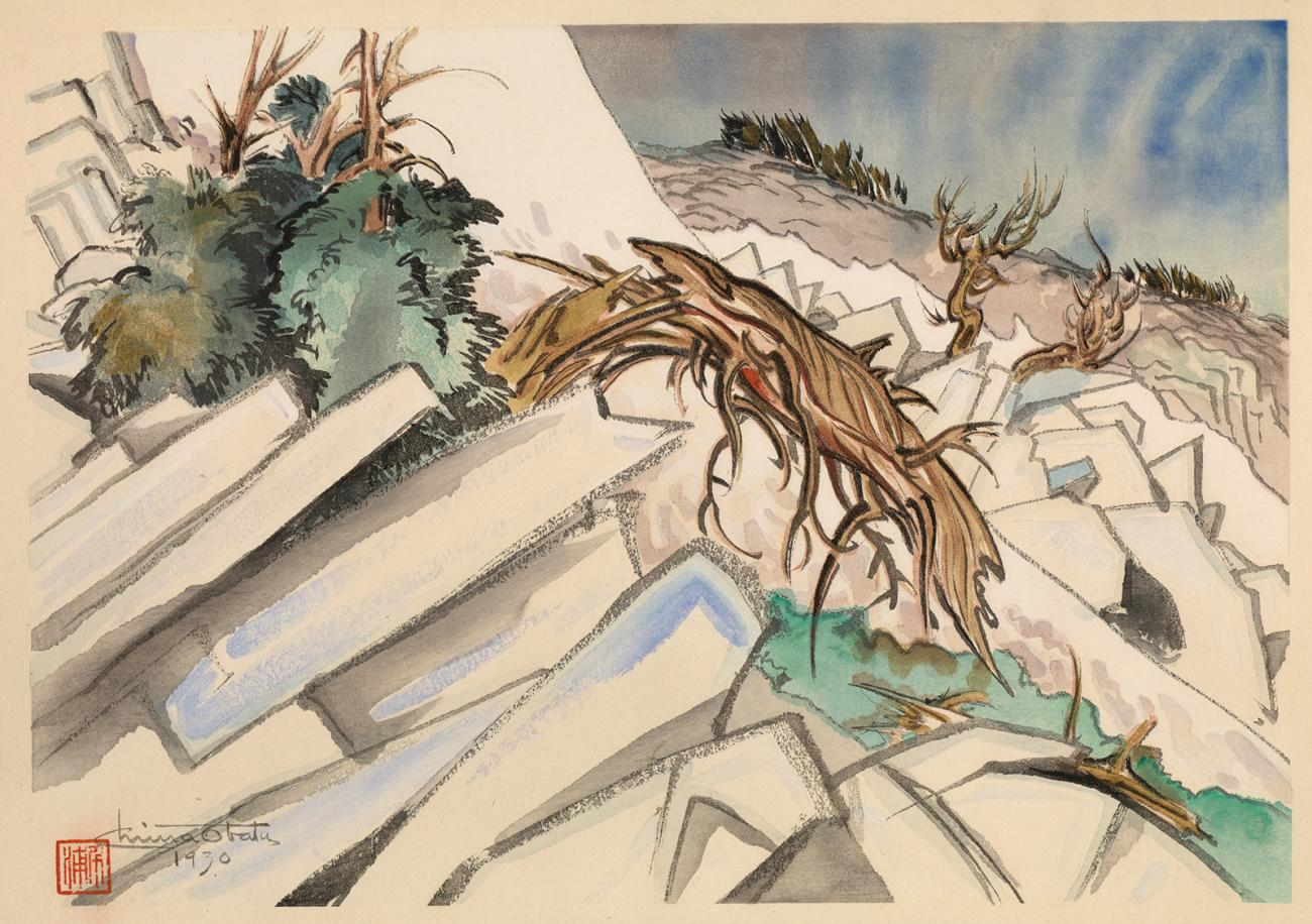 A watercolor image of rocks and trees along an incline.