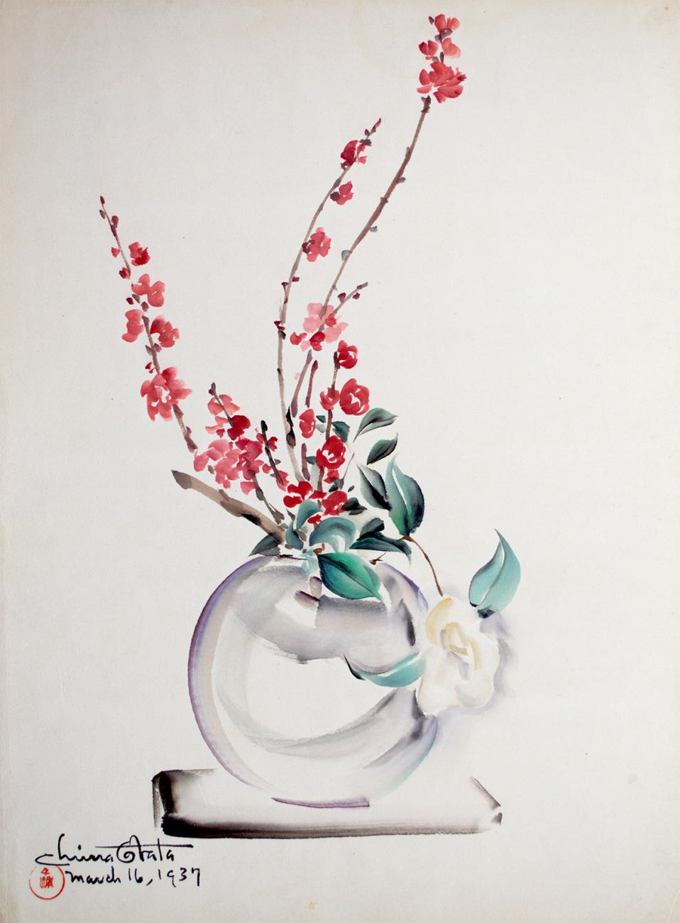 A watercolor image of a vase with flowers