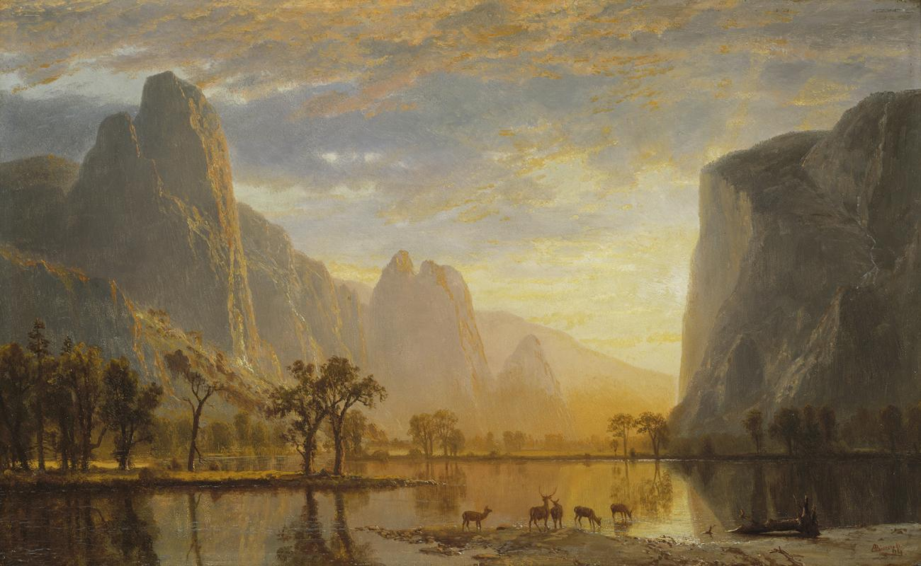 A painting of a valley with a lake.
