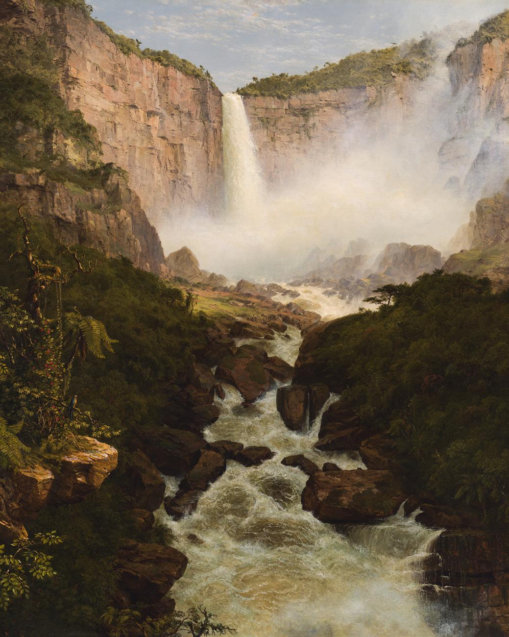 A painting of a waterfall