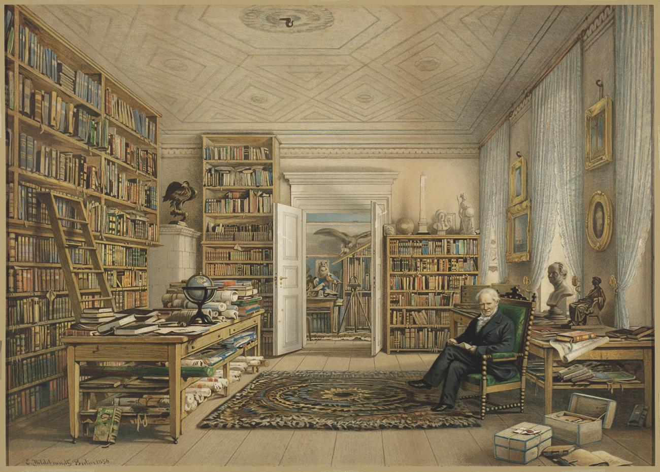A man in a library.