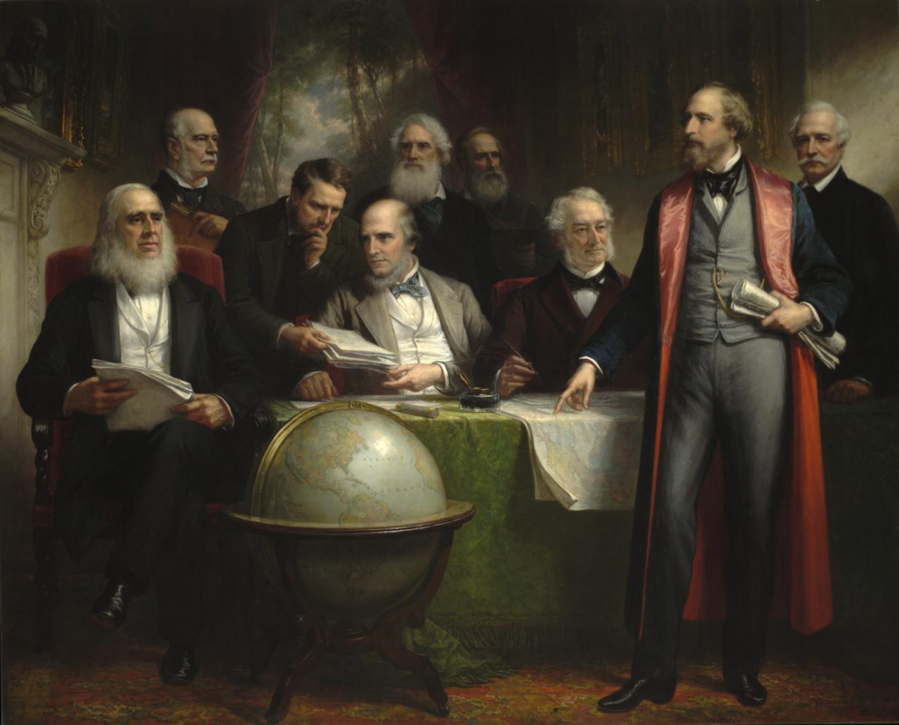 A room with men and a globe