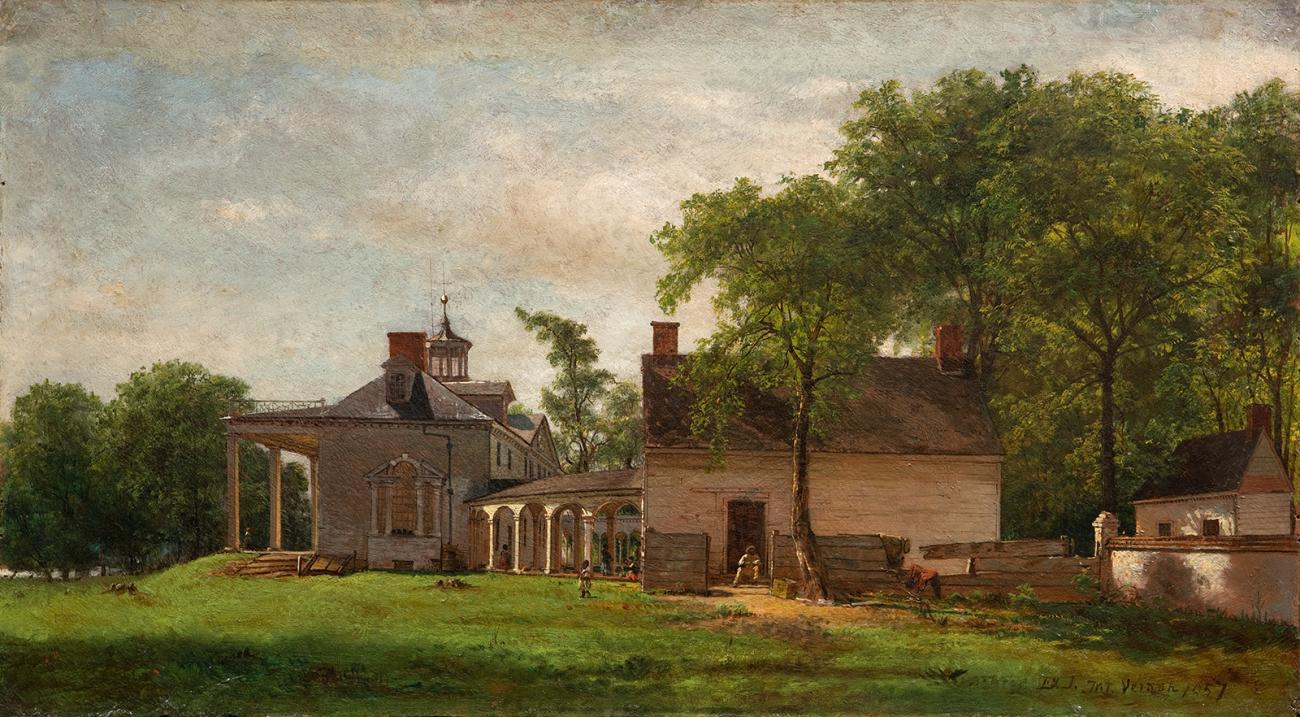 A painting of a house.