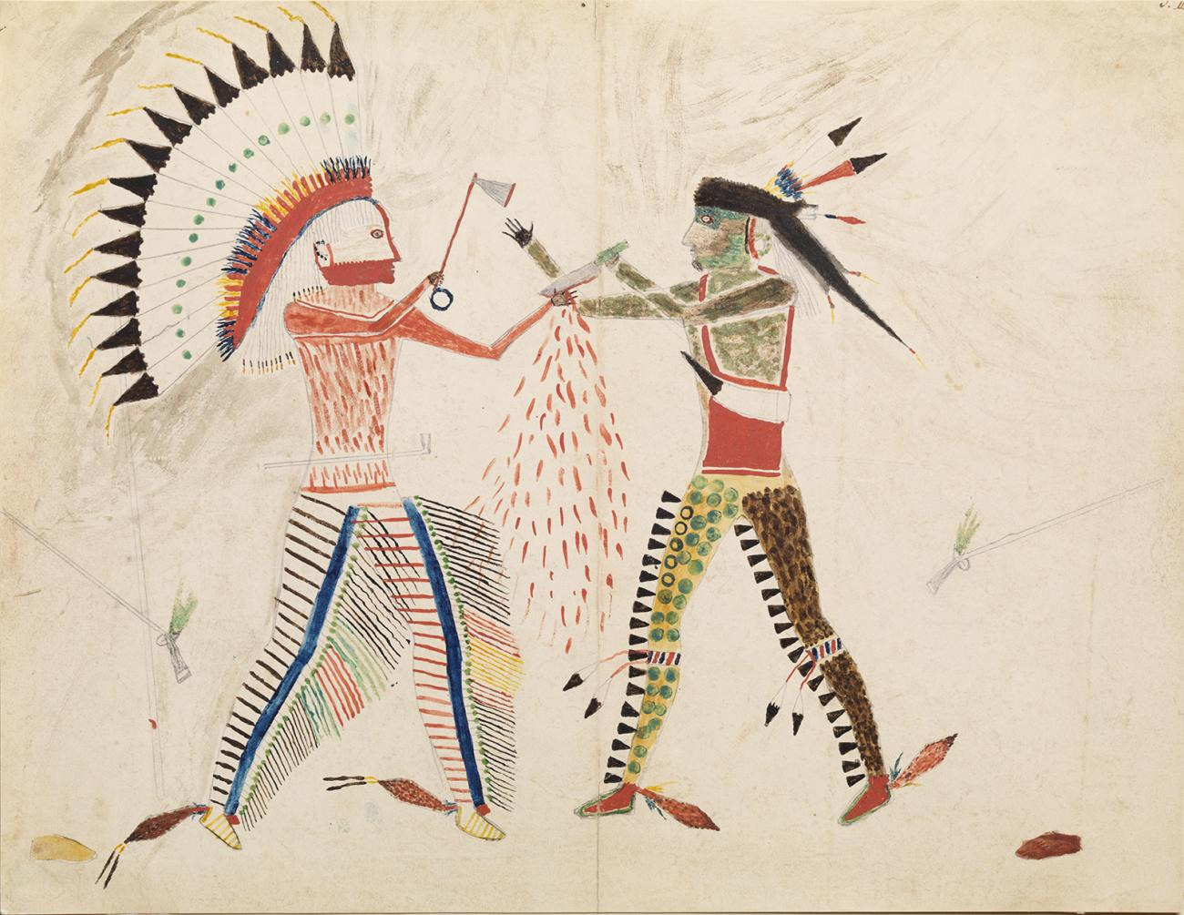 A drawing of two men fighting.
