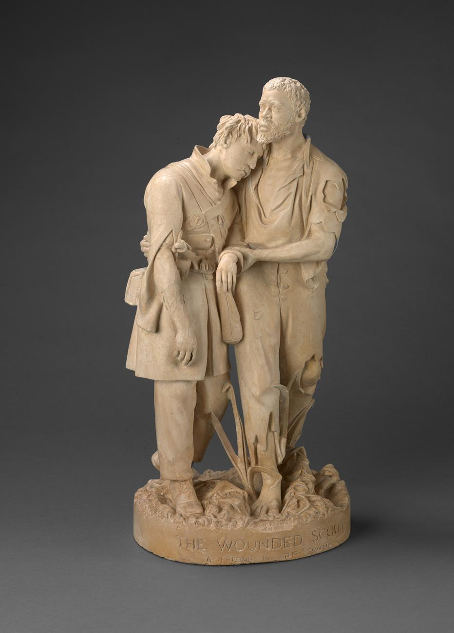 A sculpture of two men