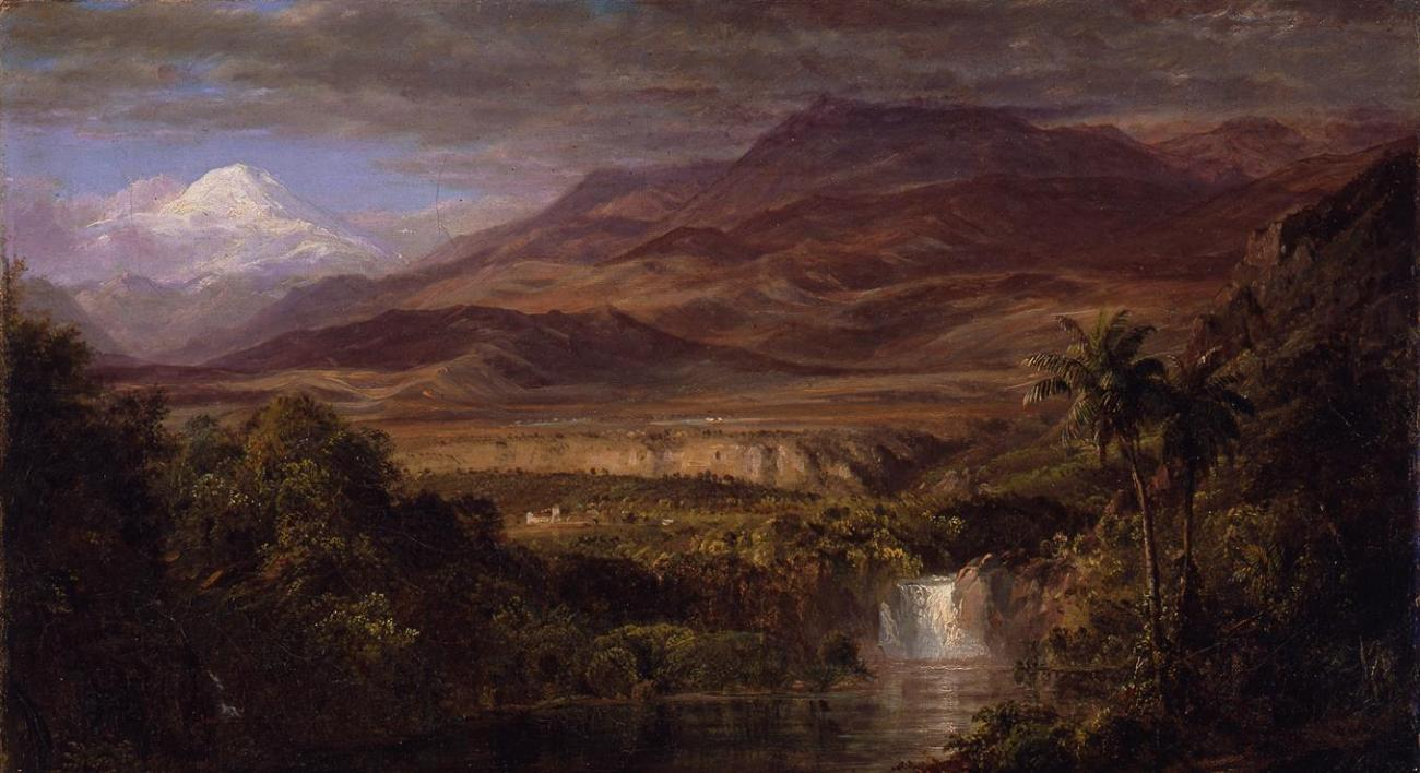 A painting of a landscape with a mountain in the distance.