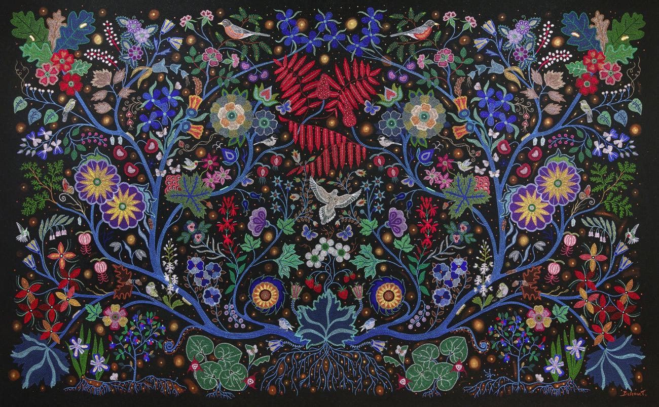 A colorful acrylic on canvas