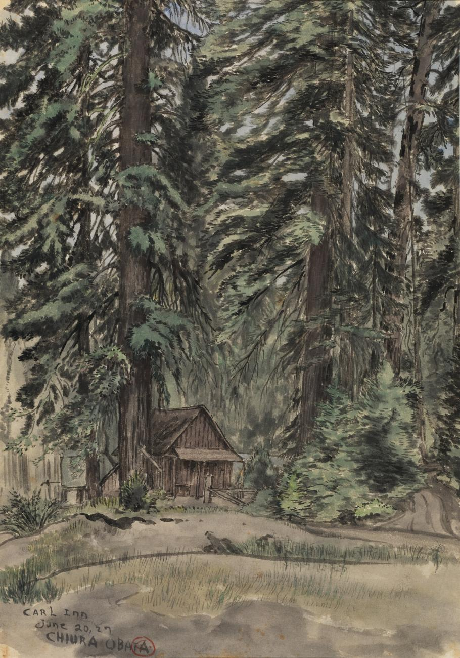 A watercolor image of a small inn surrounded by trees.