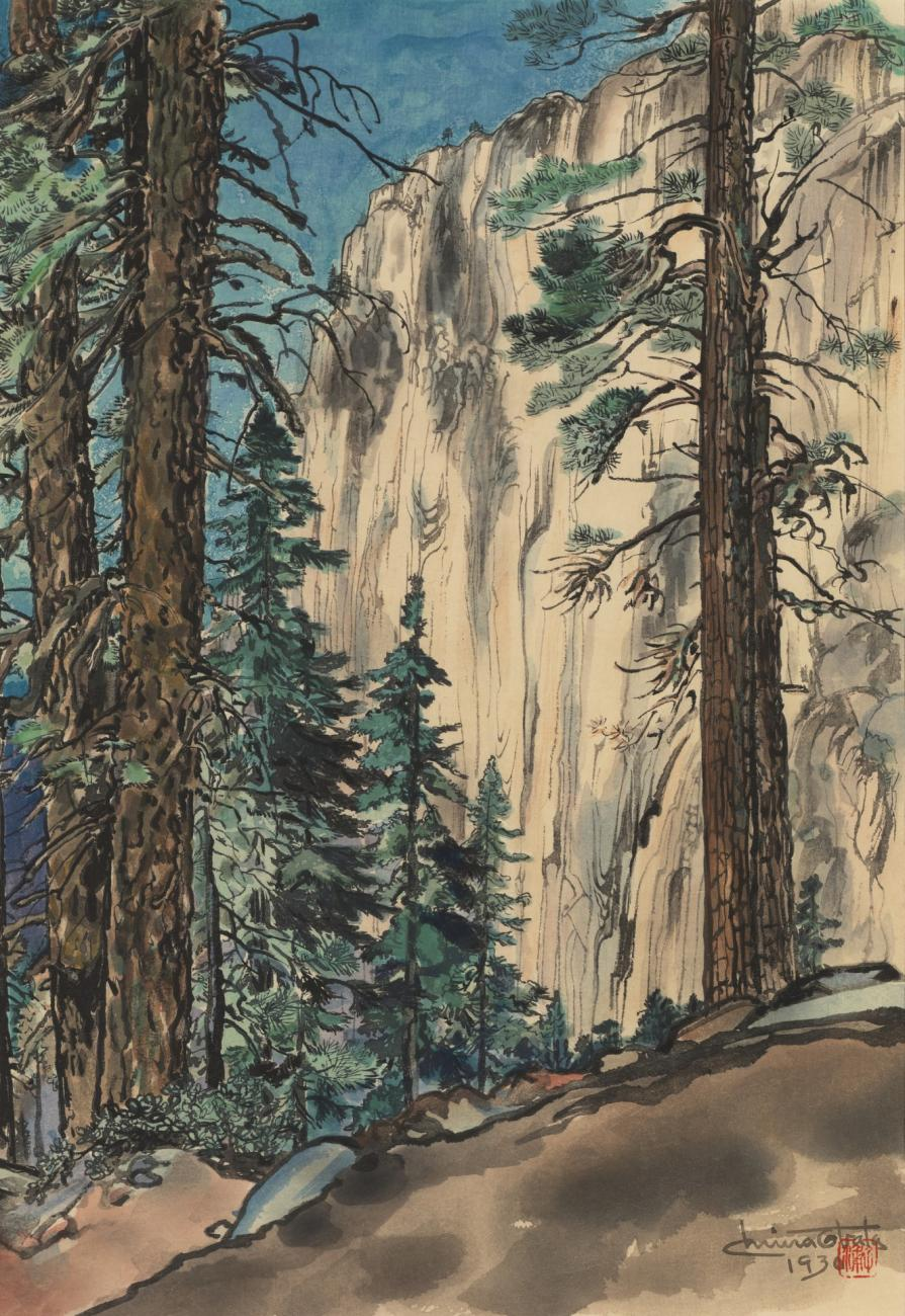 A watercolor image of some trees and a mountain in the background.