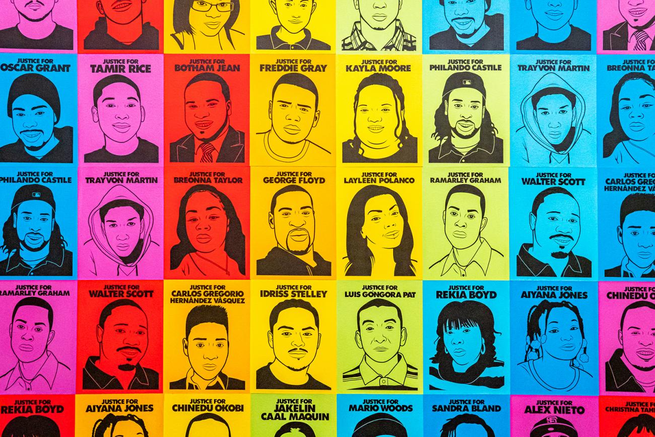 A grid of portraits on a colorful background