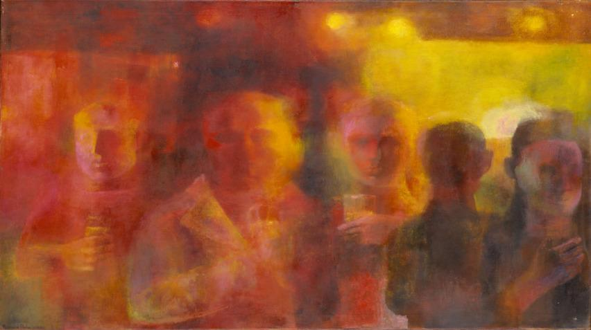 A colorful opaque painting of men at a bar