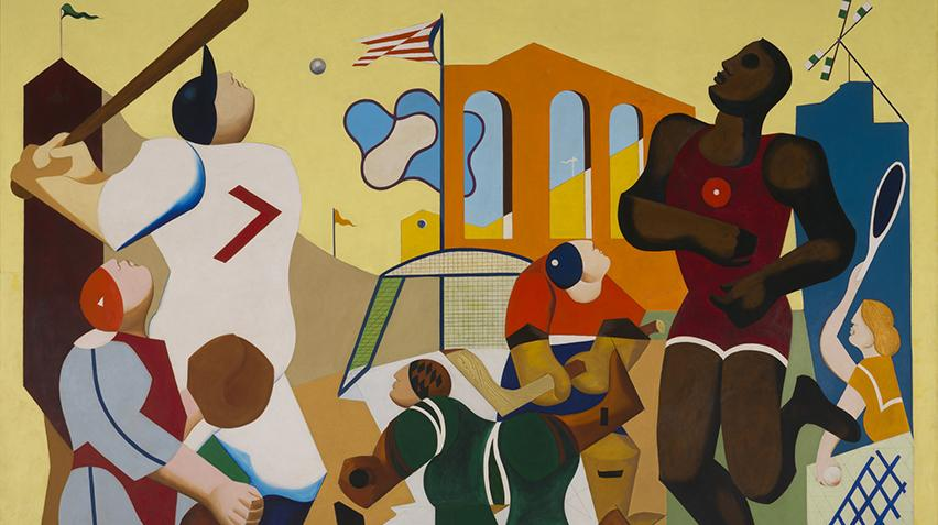 A painting displaying many different sports