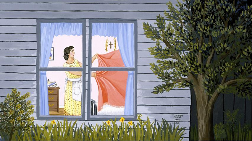 A detail of a painting outside of a house. Through the window, a woman is holding laundry.