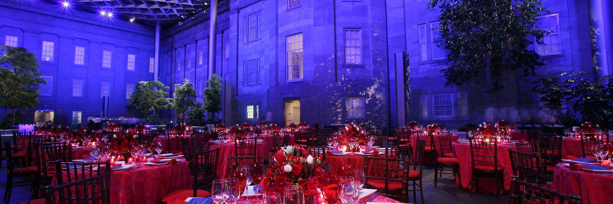 This is an image taken at night inside the Kogod Courtyard of the Smithsonian American Art Museum.
