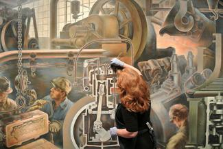 Splash Image - From Public Library to Public Gallery, Marvin Beerbohm's Automotive Industry Mural is Reinstalled