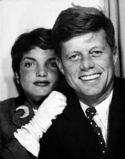 Photobooth portrait of JFK and Jacqueline Kennedy