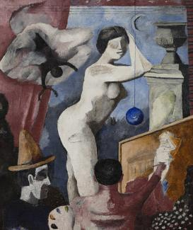 A painting of a man painting a woman.