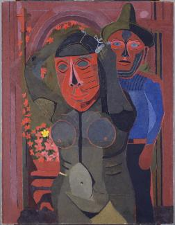 Oil on canvas of two figures at a carnival.
