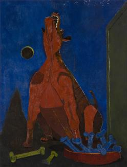 Oil on canvas of a dog barking at the moon.