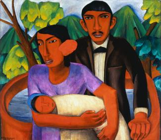Oil on canvas of a family with a small baby.