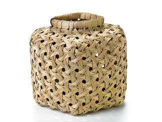 This is a basket with a square shaped appearance.