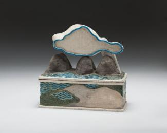 Wayne Higby's Partly Cloud glazed earthenware piece.