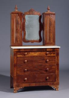 A mahogany Grecian style bureau.