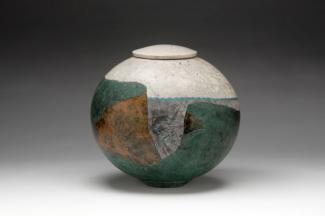 Wayne Higby's Green Terrace Canyon made from glazed earthenware.