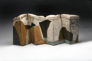 Wayne Higby's Yellow Rock Falls made from glazed earthenware.