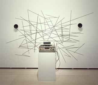 Name June Paik's Random Access made from strips of audiotape.