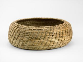 A basket that's low and circular.
