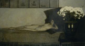 Romaine Brooks',Azalées Blanches (White Azaleas) is a painting of a nude woman laying on a bed with white azaleas in the foreground.