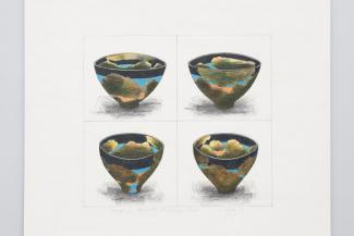Wayne Higby's Study for Black Sky Landscape Bowl, set of four sketches with colored pencil.