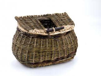 A basket with a rectangular base that transforms into a smaller circle with a lid.