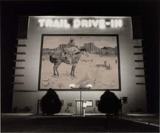 A photograph of a Texas drive-in theater.