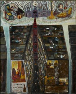 Fasanella's Pie in the Sky, an oil painting of a city block with a church towards the end.