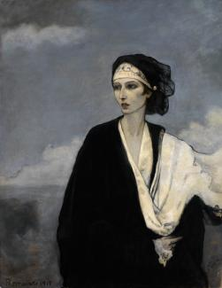 Romaine Brooks'Ida Rubinstein is a painting of a woman in the foreground and the landscape in the background.