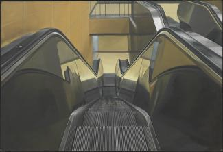 Estes' Escalator, a painting from the top of an escalator looking down.