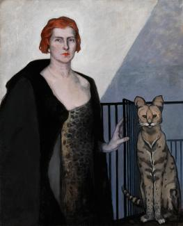 Romaine Brooks'La Baronne Emile D'Erlanger is a painting of a red headed woman with a cat.