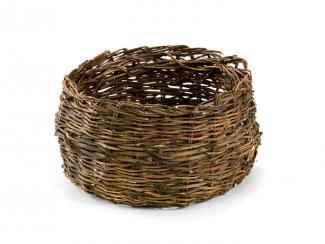 A basket that's small with a circular base