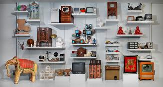 Selected objects from the Nam June Paik Archive on display in 2012.