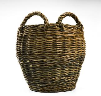 A basket that is tall like a bucket with two small handles.